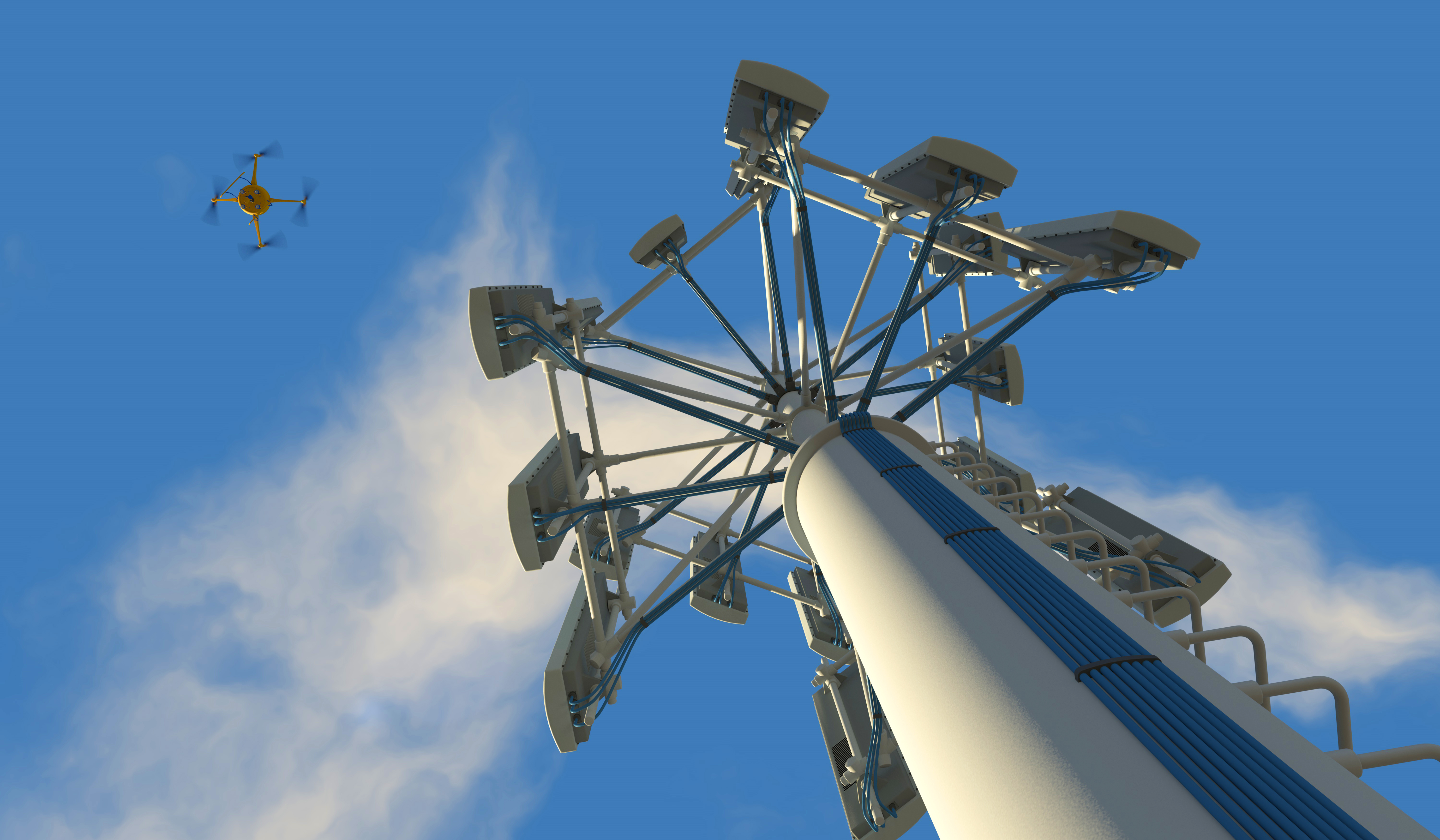 Drone inspecting telephone tower
