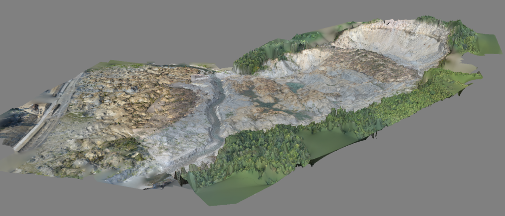 3D model of the Oso mudslide disaster zone, processed by DataMapper