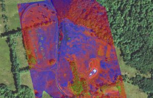 The multispectral view overlays the visual imagery showing a normalized vegetation index that depicts vegetation in near infrared light detecting chlorophyll in plants.