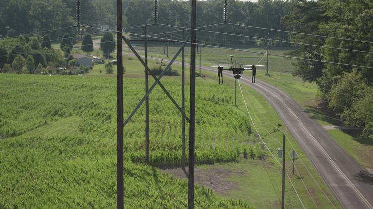 drone aand utility pole
